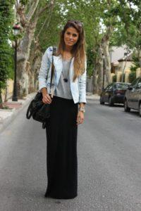 estilo basico con falda larga