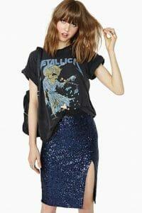 estilo rockero con falda de glitter